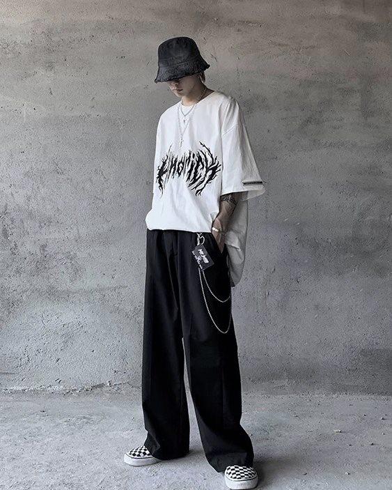 モードストリート系オーバーサイズブラックフレアTシャツ画像2